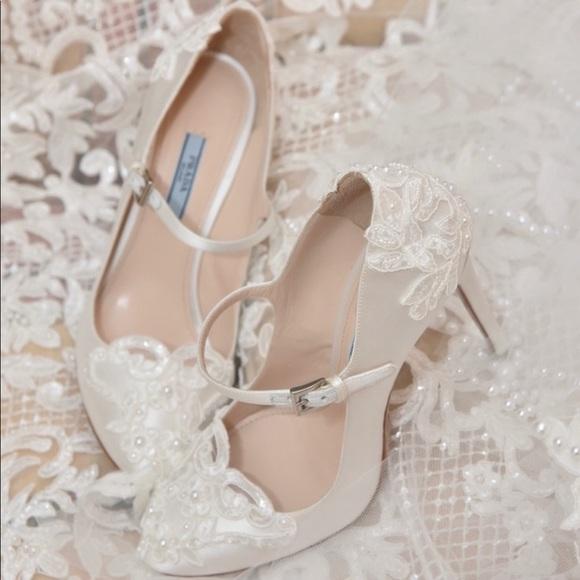 Prada Shoes White Satin Wedding French Lace Pearl Poshmark